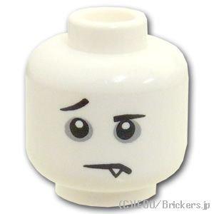 ミニフィグ ヘッド - グレーのくまと牙の困った顔:[White / ホワイト]