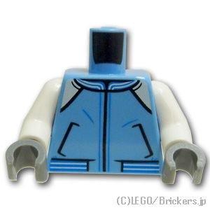 トルソー - ホワイトアームのジャンパー両面プリント:[Md,Blue / ミディアムブルー]