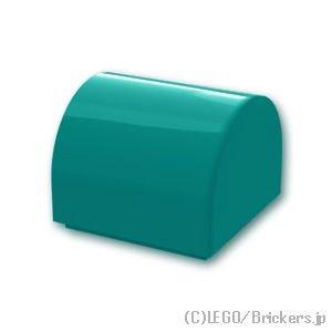 ブロック 1 x 1 x 2/3 - カーブトップ スタッドなし:[Dark Turquoise / ダークターコイズ]
