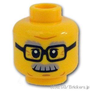ミニフィグ ヘッド - 四角いメガネと口髭おじさん