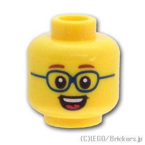 ミニフィグ ヘッド - メガネをかけた笑顔パターン:[Yellow / イエロー]