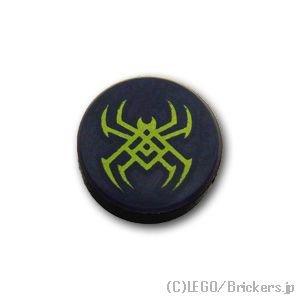 タイル 1 x 1 - ラウンド - クモのシンボル:[Black / ブラック]