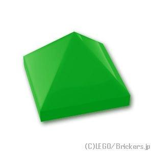 スロープ 45°- 1 x 1 x 2/3 ピラミッド:[Bt,Green / ブライトグリーン]