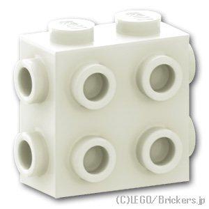 ブロック 1 x 2 x 1 2/3 3面スタッド:[White / ホワイト]