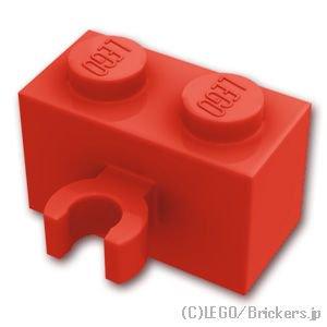 ブロック 1 x 2 - クリップ(垂直用):[Red / レッド]