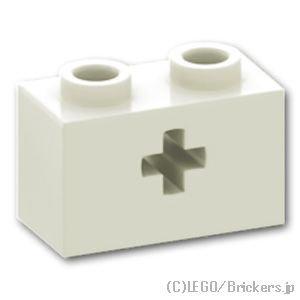 テクニック ブロック 1 x 2 - 十字軸穴:[White / ホワイト]