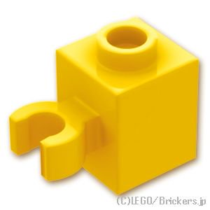 ブロック 1 x 1 - クリップ(垂直用) 凹スタッド:[Yellow / イエロー]