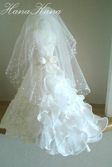 ミニチュアドレス・ウエディングドール(トルソー&ベール付)