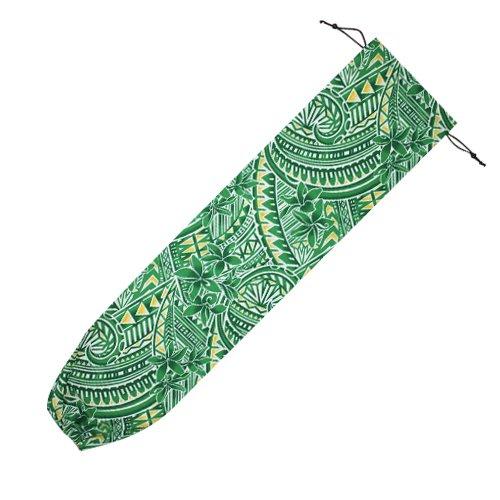緑色 パウケース プルメリア タパ柄