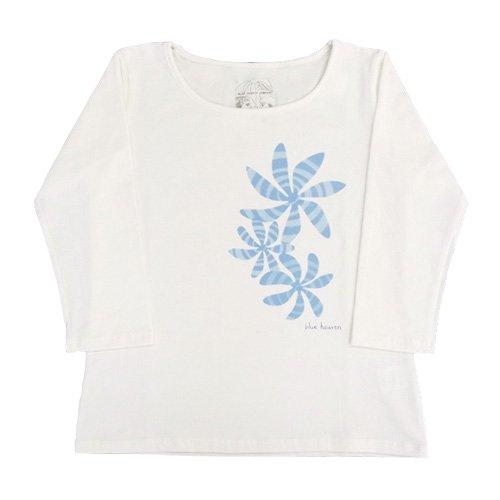 【5Lサイズ】七分袖 白色 フラTシャツ ティアレ柄