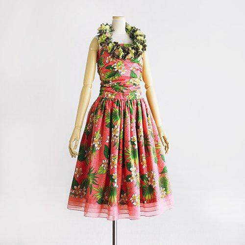 【モデルスイート】ピンク プルメリア柄 スリークォーター 裾オーガンジー3段切替 【fin】
