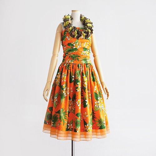 【モデルスイート】オレンジ プルメリア柄 スリークォーター 裾オーガンジー3段切替 【fin】