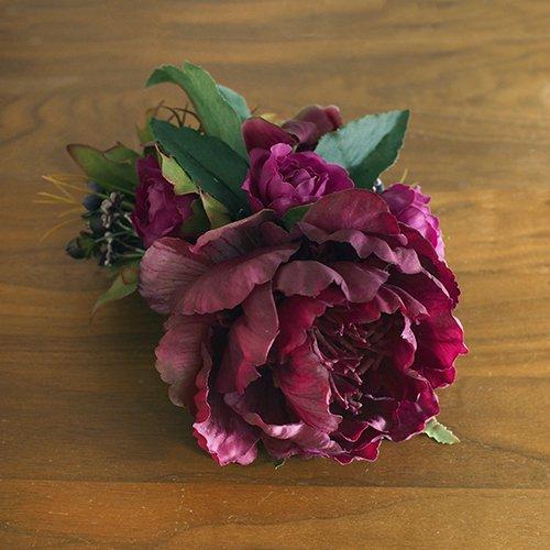 ヘアクリップ23 赤紫色 ピオニー【お届けまで3週間】