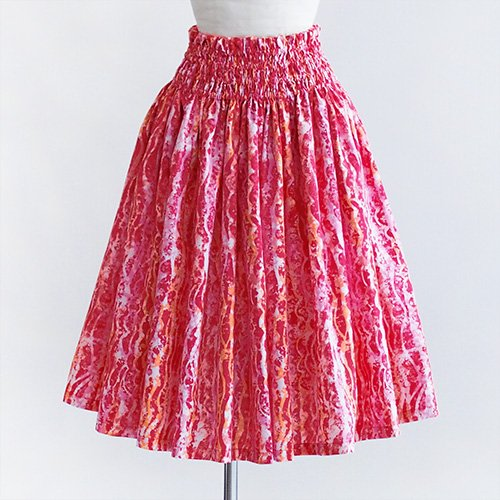 ピンク×オレンジ パウスカート ウェーブ柄[5色展開]