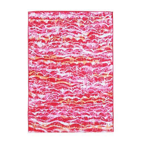 シンプルな袋  ピンク×オレンジ ウェーブ柄