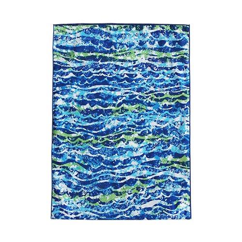 シンプルな袋  ブルー×グリーン ウェーブ柄
