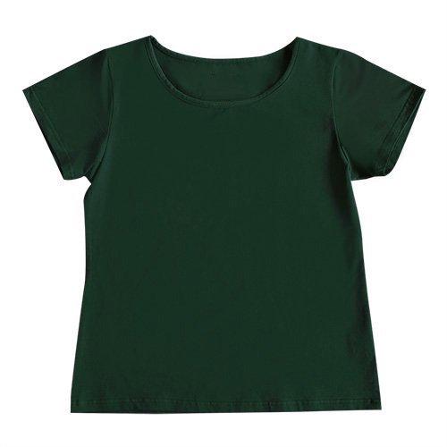 【2Lサイズ】半袖 グリーン フラTシャツ 無地