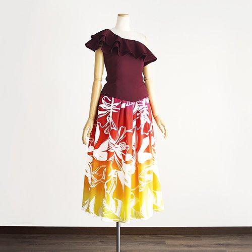 【ワンショルダーフリル】黄色〜赤色 スリークォーター