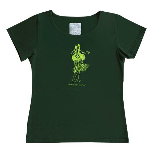 【3Lサイズ】半袖 グリーン フラTシャツ フラガール柄A(ライム)