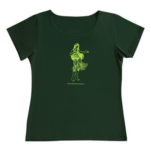 【5Lサイズ】半袖 グリーン フラTシャツ フラガール柄A(ライム)