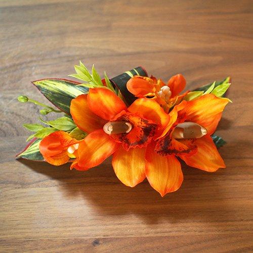 ヘアクリップ33 オレンジ マリアシンビジューム【お届けまで3週間】
