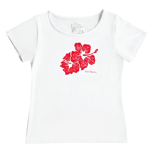 【Mサイズ】半袖 白色 フラTシャツ ハイビスカス柄B(赤)