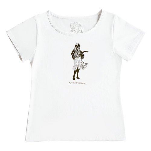 【Mサイズ】半袖 白色 フラTシャツ フラガール柄B(焦げ茶色)