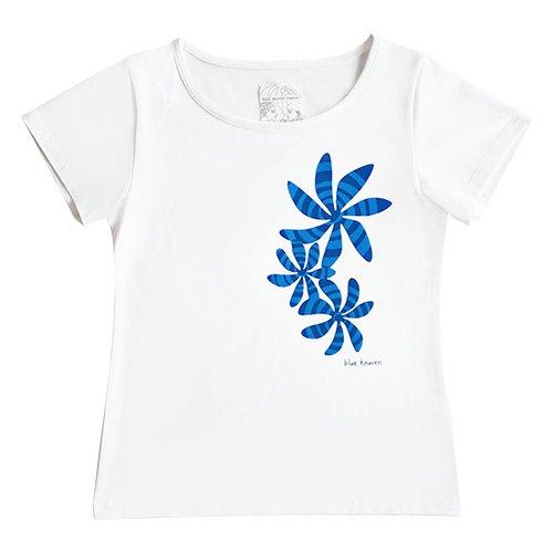 【Mサイズ】半袖 白色 フラTシャツ ティアレ柄B(アクア)