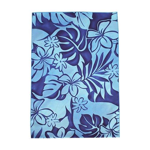 シンプルな袋 水色×青色 プルメリア モンステラ柄