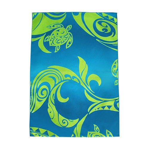 シンプルな袋 ブルー×グリーン ホヌ タパ柄