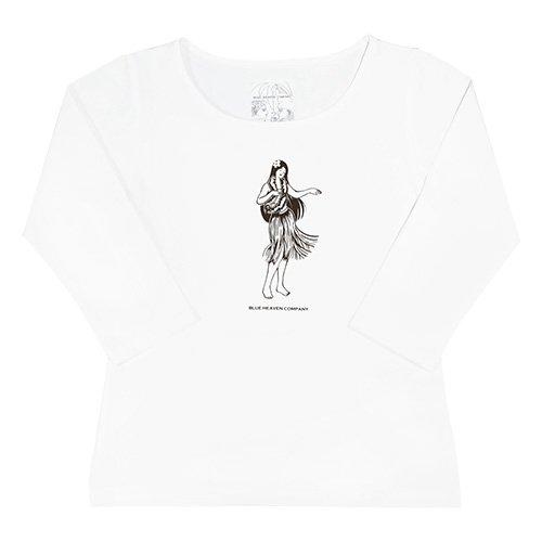 【Mサイズ】七分袖 白色 フラTシャツ フラガール柄A(焦げ茶色)