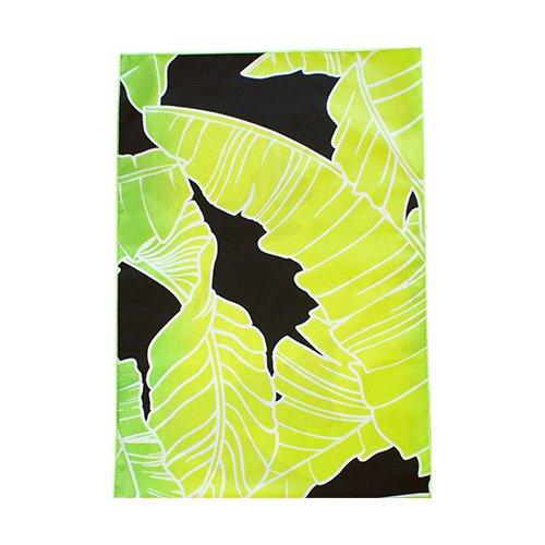 シンプルな袋 緑色×黄色 バナナリーフ柄