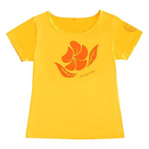 【Mサイズ】半袖 イエロー フラTシャツ プルメリア柄(オレンジ)
