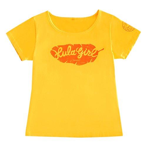 【Mサイズ】半袖 イエロー フラTシャツ バナナリーフ柄(オレンジ)