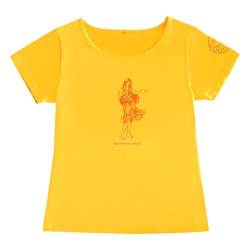 【Mサイズ】半袖 イエロー フラTシャツ フラガール柄A(オレンジ)