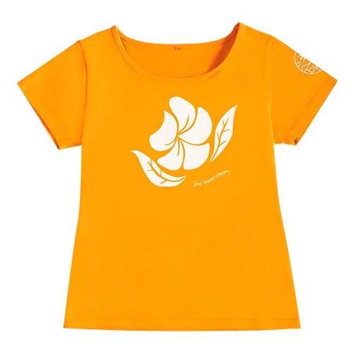 【Sサイズ】半袖 オレンジ フラTシャツ プルメリア柄(白色)