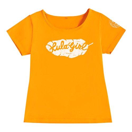 【Mサイズ】半袖 オレンジ フラTシャツ バナナリーフ柄(白色)