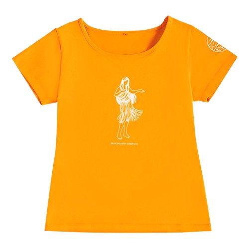 【Sサイズ】半袖 オレンジ フラTシャツ フラガール柄A(白色)