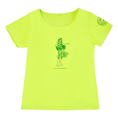 【Sサイズ】半袖 黄緑 フラTシャツ フラガール柄A(グリーン)