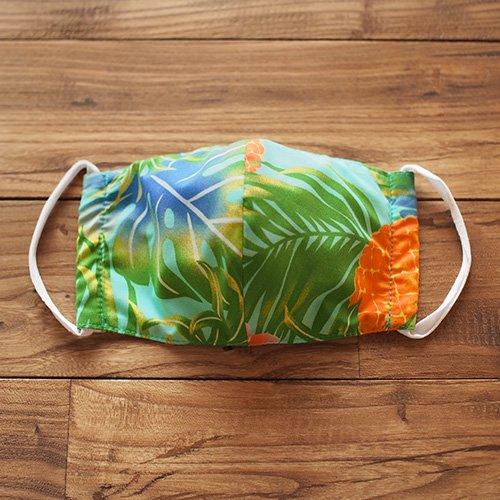 """ハワイ生地マスク """"フィルター バー"""" 付き 水色 パイナップル柄 [3サイズ展開]"""