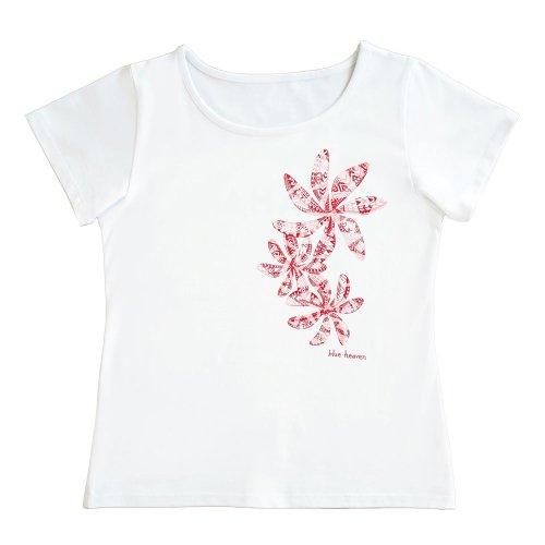 【Sサイズ】半袖 白色 フラTシャツ ティアレ柄C タパ(赤)