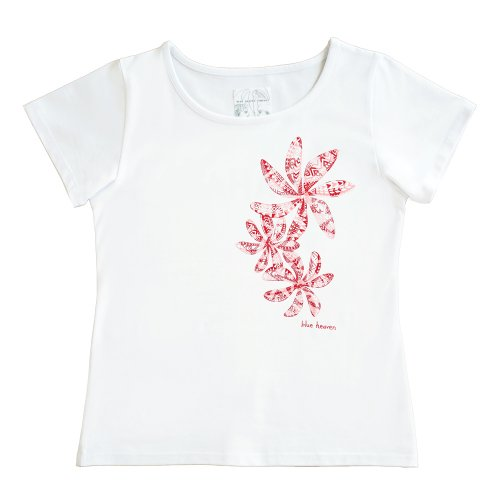 【3Lサイズ】半袖 白色 フラTシャツ ティアレ柄C タパ(赤)