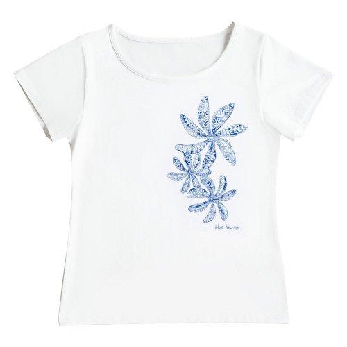 【Mサイズ】半袖 白色 フラTシャツ ティアレ柄C タパ(青)