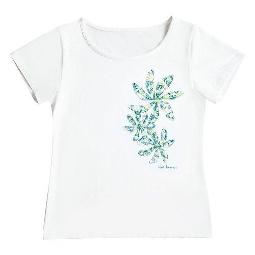 【Mサイズ】半袖 白色 フラTシャツ ティアレ柄C タパ(緑)