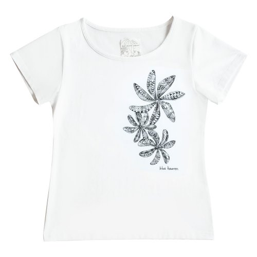 【Mサイズ】半袖 白色 フラTシャツ ティアレ柄C タパ(黒)