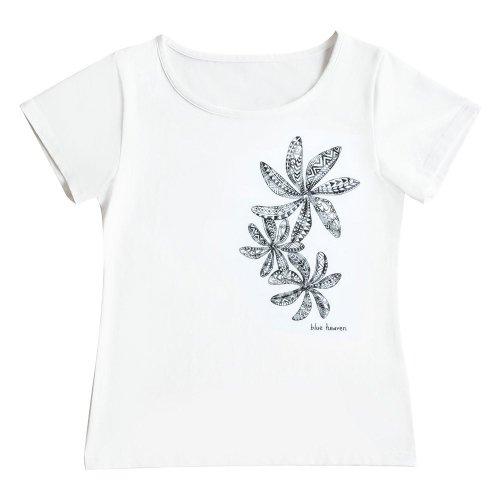 【2Lサイズ】半袖 白色 フラTシャツ ティアレ柄C タパ(黒)