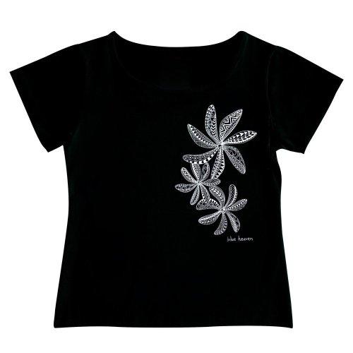 【Mサイズ】半袖 黒色 フラTシャツ ティアレ柄C タパ(白)