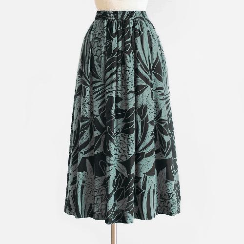 錆浅葱 / 黒 パイナップル 椰子柄 ウエストゴムのリラックススカート