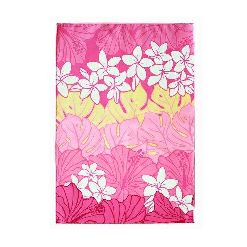 シンプルな袋 ピンク色 プルメリア モンステラ柄