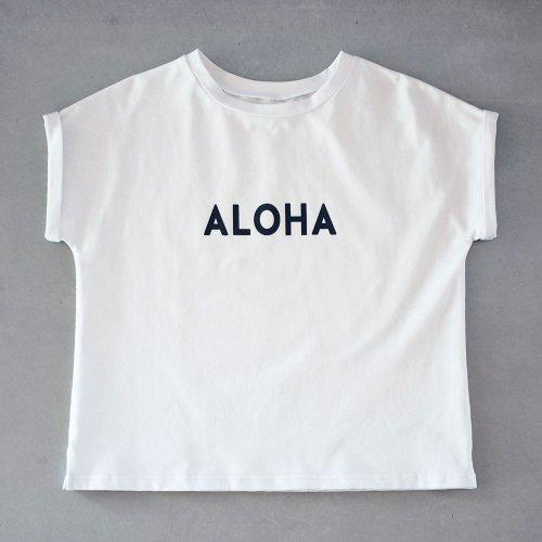 """ターンアップフレンチ カットソー """"ALOHA"""" 白"""